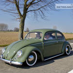 Green Oval VW Beetle on the French Autoroute